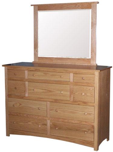 Amish Shaker Ten Drawer Mule Dresser with Mirror