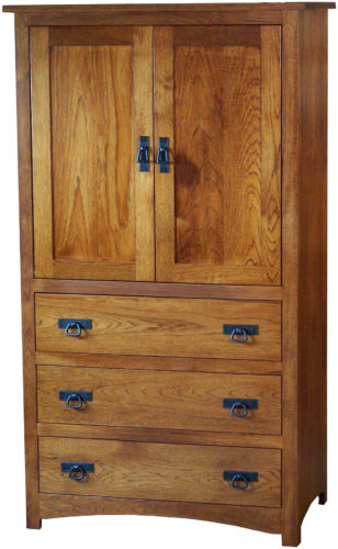 Amish Shaker Hickory Wood Armoire