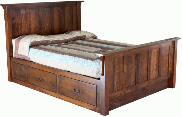 Amish Storage 4 Drawer Bed Rail