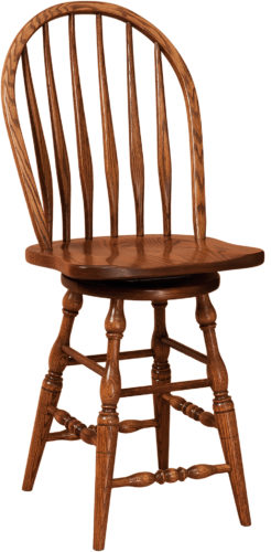 Amish Bent Feather Hardwood Swivel Bar Stool