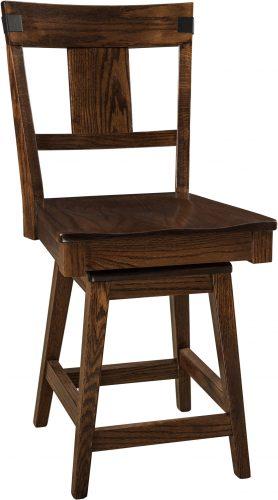 Amish Lahoma Hardwood Swivel Bar Stool