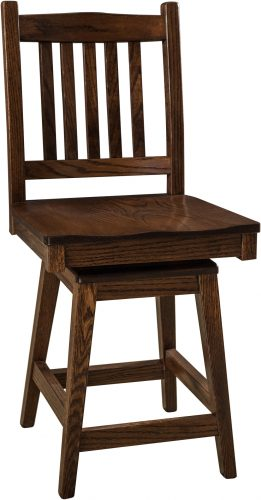 Amish Logan Hardwood Swivel Bar Stool
