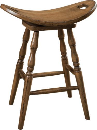 Amish Saddle Hardwood Swivel Bar Stool