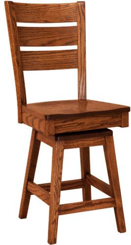 Amish Savannah Hardwood Swivel Bar Stool