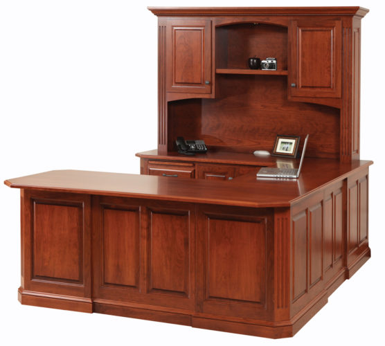 Amish Buckingham U-Shaped Desk with Hutch