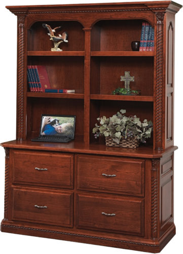 Amish Lexington Wide Double Lateral File with Bookshelf