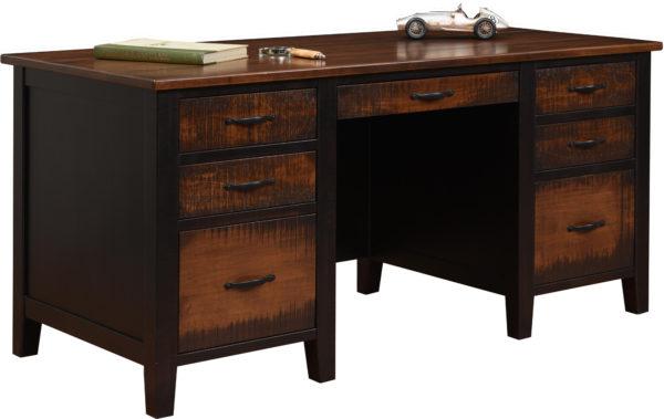 Amish Resawn Manhattan 66 Inch Executive Desk