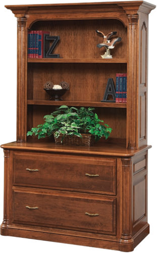 Amish Jefferson 48 Inch Lateral File with Bookshelf