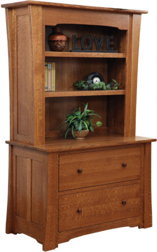 Amish Jamestown Lateral File with Bookshelf Hutch