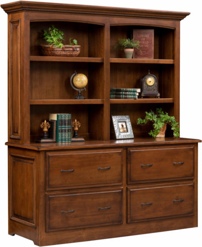 Amish Liberty Classic Double Lateral File Cabinet with Hutch