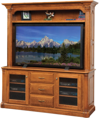 Amish Jefferson Plasma TV Stand with Hutch
