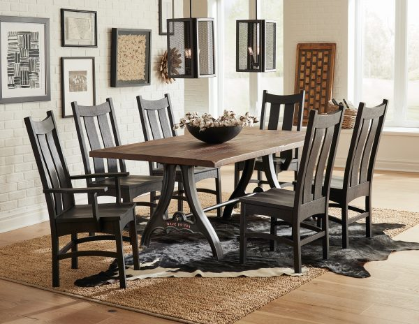 Amish Country Shaker Dining Chair Set with Iron Forge Table