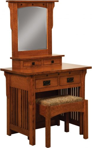 Amish Royal Mission Dressing Table with Bench