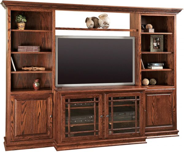 Amish Jason Heritage TV Console with Bookcases