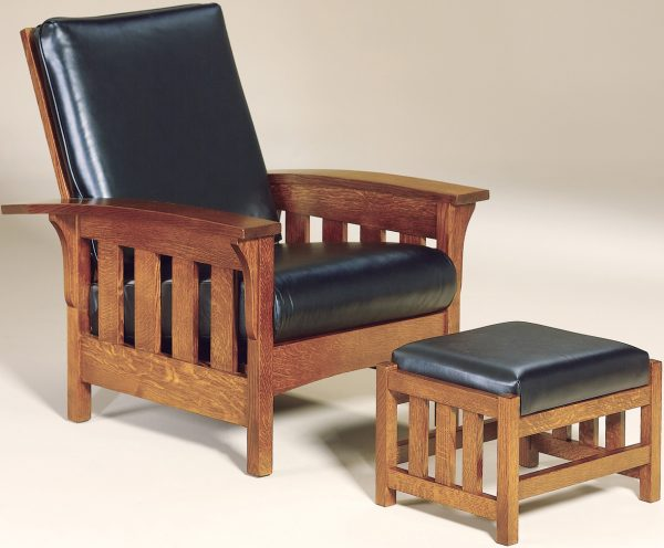 Amish Bow Arm Slat Morris Chair and Footstool
