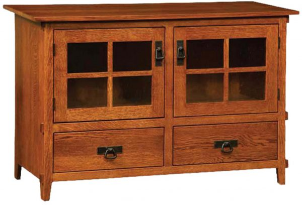 Amish Deluxe Mission Two Door Plasma TV Cabinet with Drawers