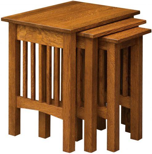 Amish Mission Wood Slat Nesting Table Set