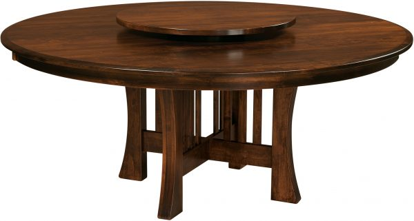 Amish Arts and Crafts Round Dining Table with Lazy Susan
