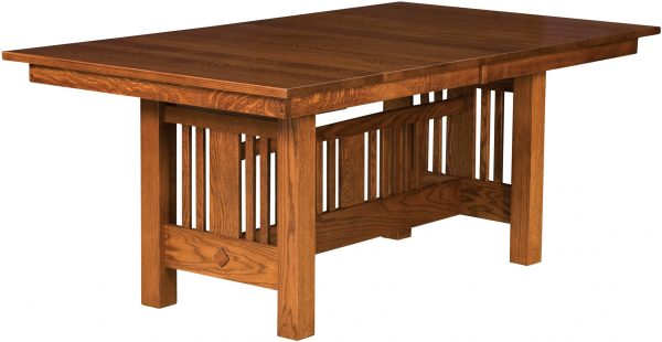 Amish Kingsbury Mission Trestle Dining Table