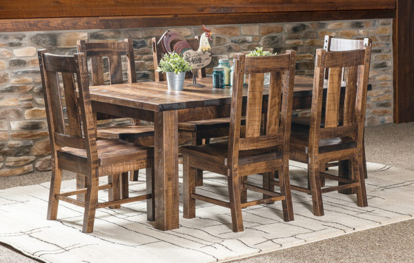 Amish Santa Fe Leg Dining Room Table Set