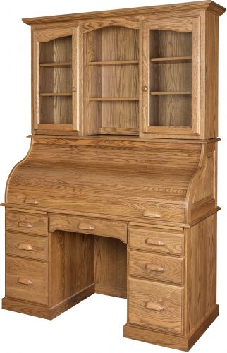 Amish 56 Inch Roll Top Desk with Hutch