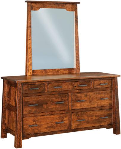 Amish Cambridge 7 Drawer Dresser with Mirror