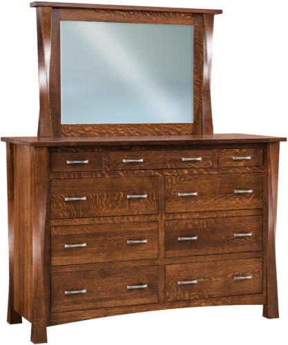 Amish Wide Lexington Nine Drawer Mule Dresser