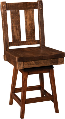 Amish Houston Hardwood Swivel Bar Stool
