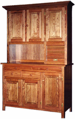Amish Shaker Hoosier Wood Hutch