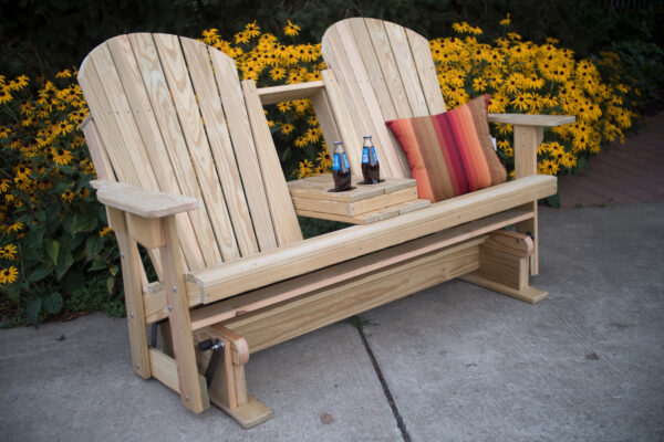 Treated Pine Double Adirondack Glider with Open Console Table