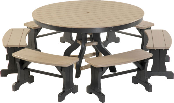 Poly Round Patio Table with Benches