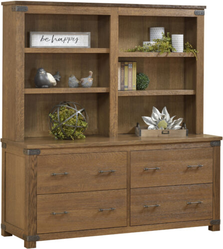 Amish Georgetown Double Lateral File and Hutch