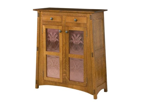 Amish McCoy Two Door Cabinet with Copper Panels
