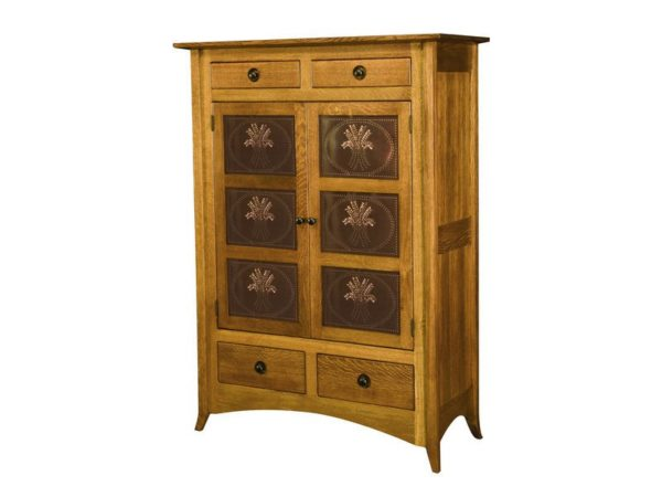 Amish Shaker Hill Two Door Cabinet with Copper Panels