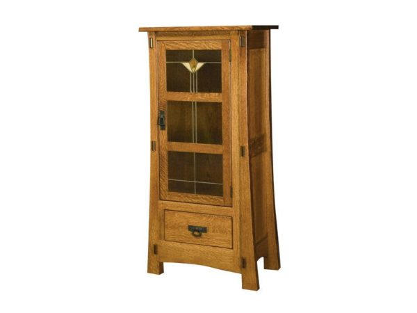 Amish Modesto One Door Cabinet with Glass Panels