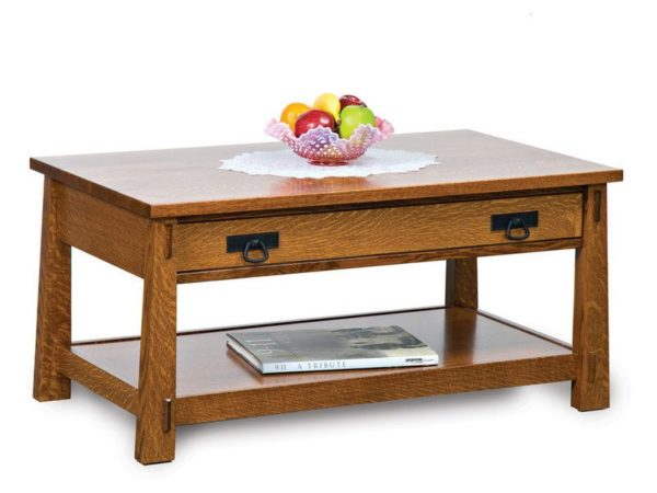 Amish Modesto Open Coffee Table with Drawer