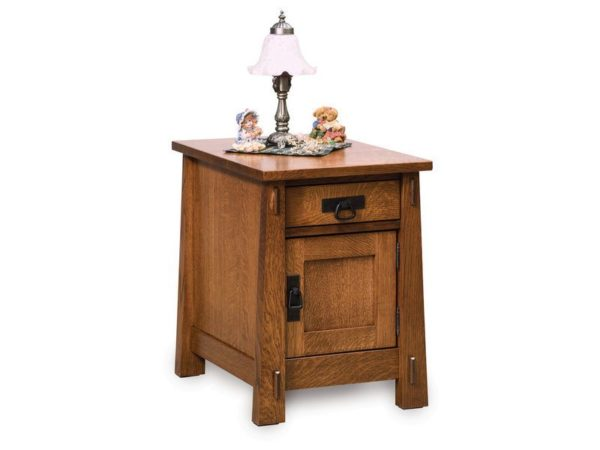 Amish Modesto Enclosed End Table with Drawer