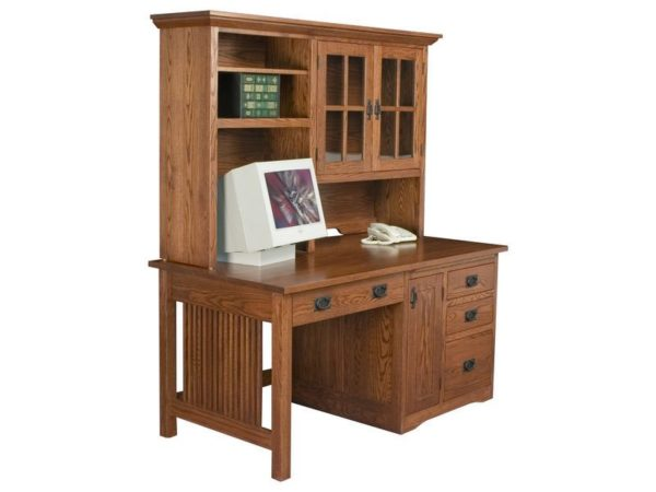 Amish Mission Computer Desk with Hutch