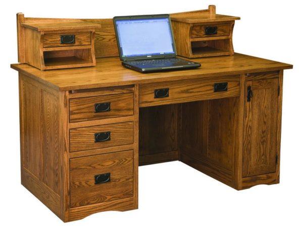 Mission Desk with Small Hutch   Custom Amish Furniture