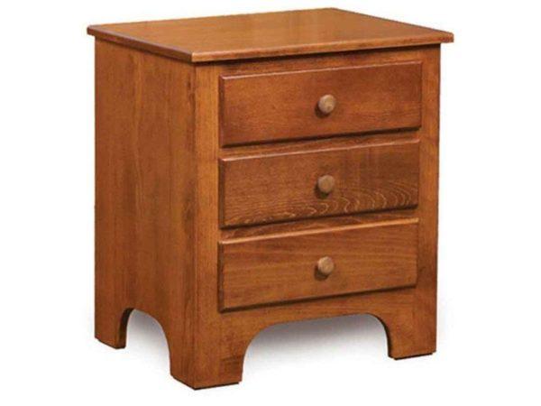 Amish Ridgecrest Shaker Three Drawer Nightstand