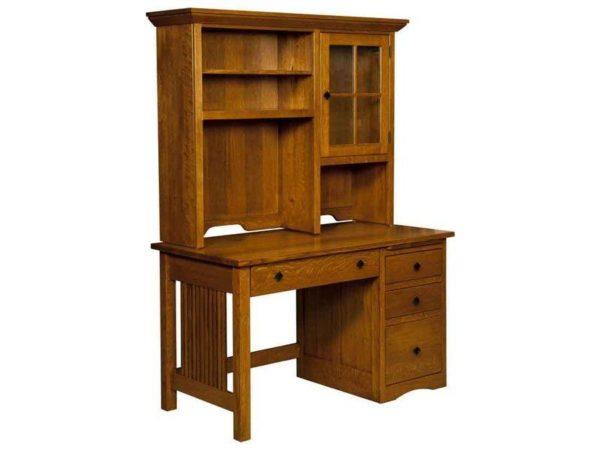 Amish Mission Slat Desk with Hutch