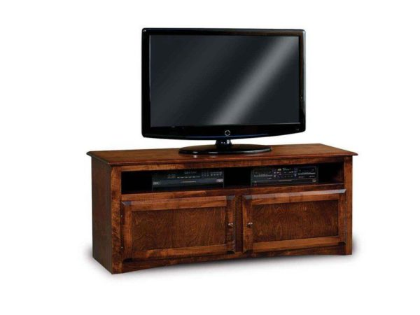 Amish Durham Wide Two Door TV Stand with Media Opening