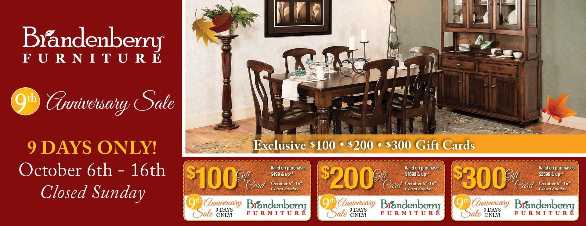 Brandenberry Amish Furniture Sale Information