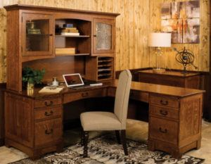 Custom Amish Built Noble Mission L Shaped Desk