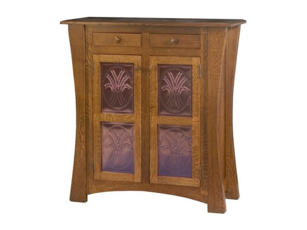 Amish Arts and Crafts Two Door Cabinet with Copper Panels