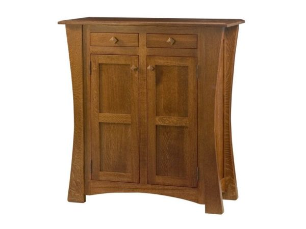 Amish Arts and Crafts Two Door Cabinet with Reverse Panels
