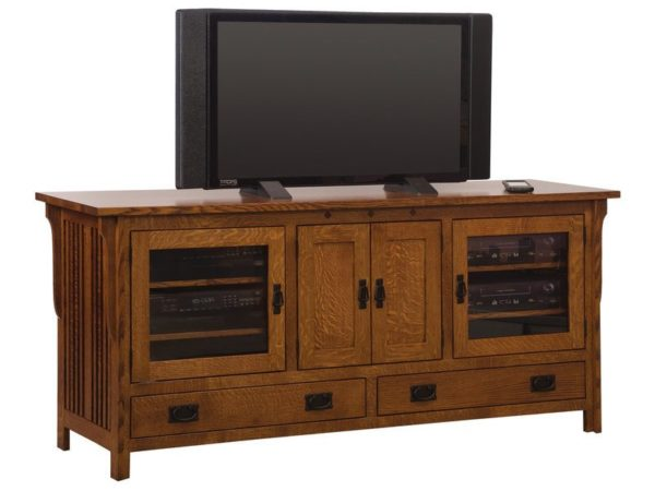 Amish Straight Royal Mission Four Door TV Stand
